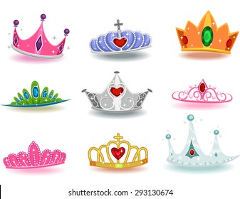 Illustration Featuring a Collection of Crowns with Different Designs