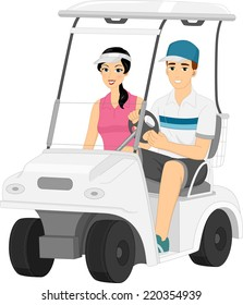 Illustration Featuring a Couple Driving Around in a Golf Cart