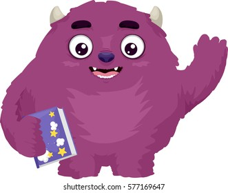 Illustration Featuring a Cute and Colorful Monster Waving While Holding a Storybook