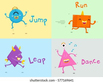 Illustration Featuring Cute Colorful Monsters Demonstrating Action Words