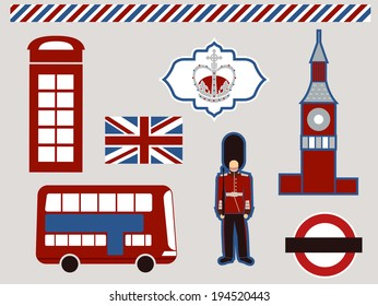 Illustration Featuring Different Elements Commonly Associated with London
