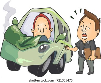 Illustration Featuring a Driving Instructor Scolding His Student After He Crashed the Car