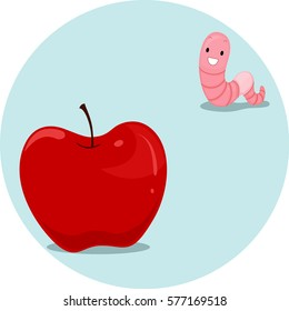 Illustration Featuring an Earthworm and an Apple Demonstrating the Meaning of the Word Far