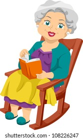 Illustration Featuring an Elderly Woman Sitting on a Rocking Chair