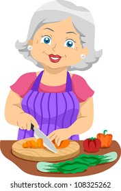 Illustration Featuring an Elderly Woman Slicing Veggies