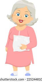 Illustration Featuring an Elderly Woman Wearing Pajamas