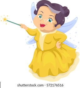 Illustration Featuring an Elderly Woman Wearing a Fairy Costume Holding a Magic Wand