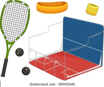 Illustration Featuring Equipment Used for Playing Squash