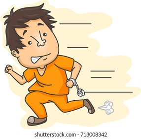 Illustration Featuring an Escaped Male Prisoner in Prison Clothes Running While Still Partially Handcuffed