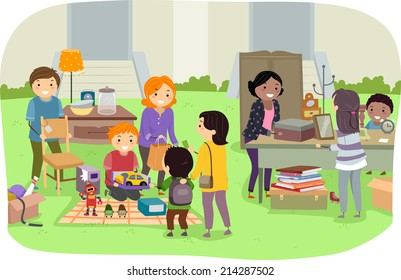 Illustration Featuring Families Holding a Yard Sale
