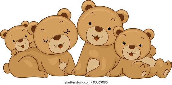 Illustration Featuring a Family of Bears