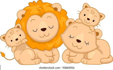 Illustration Featuring a Family of Lions