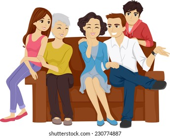Illustration Featuring a Family Sitting on the Sofa