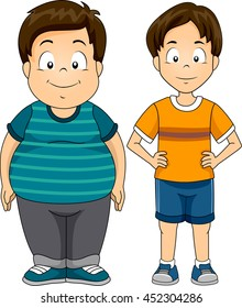 Illustration Featuring a Fat and a Skinny Boy