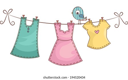 Illustration Featuring Female Clothing Hanging on a Clothes Line
