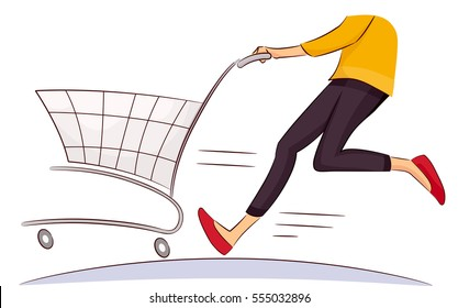 Illustration Featuring a Female Shopper Running While Pushing a Shopping Cart