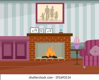Illustration Featuring a Fireplace in Use