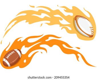 Illustration Featuring a Football and a Rugby Ball Covered in Flames