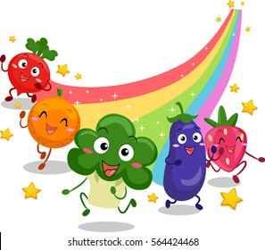 Illustration Featuring Fruit and Vegetable Mascots Leaving a Colorful Trail as They Run