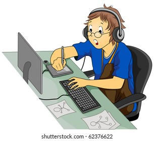 Illustration Featuring a Graphic Artist at Work - Vector