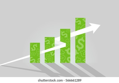 Illustration Featuring a Green Bar Graph Printed with Dollar Signs with an Arrow on an Upward Trajectory Passing Through It