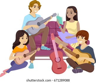 Illustration Featuring a Group of Teenagers Singing and Playing the Guitar Together