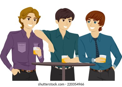 Illustration Featuring Guys Hanging Out in a Bar