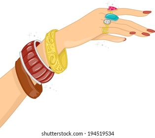 Illustration Featuring a Hand Filled with Different Accessories
