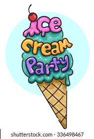 Illustration Featuring an Ice Cream Cone Decorated with the Words Ice Cream Party