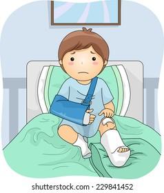 Illustration Featuring an Injured Boy Wearing a Leg Cast