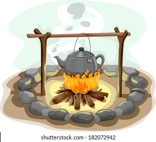 Illustration Featuring a Kettle of Water Hanging Over a Camp Fire