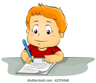 Illustration Featuring a Kid Writing on a Piece of Paper - Vector