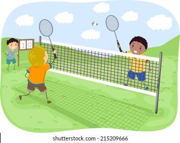 Illustration Featuring Kids Playing Badminton