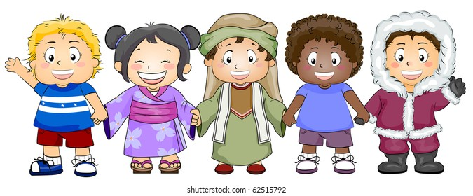 Illustration Featuring Kids of Various Races and Ethnicity