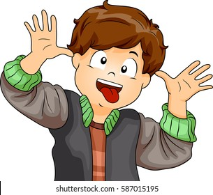 Illustration Featuring a Little Boy Making Funny Faces with His Eyes, Tongue, and Hands