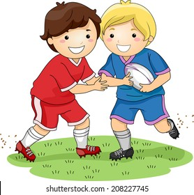 Illustration Featuring Little Boys Dressed in Rugby Uniforms Demonstrating a Tackle