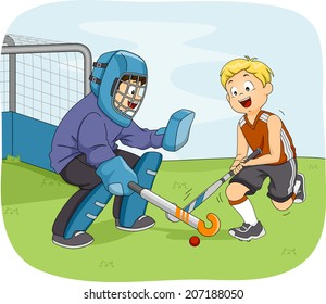 Illustration Featuring Little Boys Playing Field Hockey