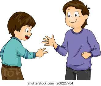 Illustration Featuring Little Boys Playing Rock, Paper, Scissors