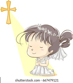Illustration Featuring a Little Girl in a White Dress Kneeling in Prayer After Going Through Her First Communion