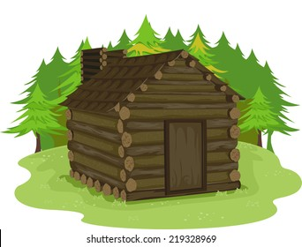 Illustration Featuring a Log Cabin in a Forest