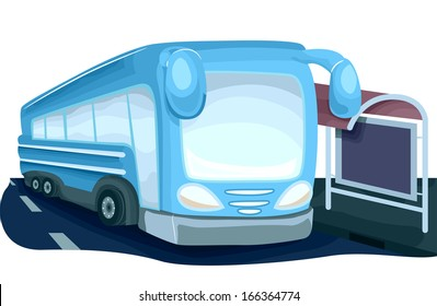 Illustration Featuring a Modern Looking Bus Parked Beside a Bus Stop