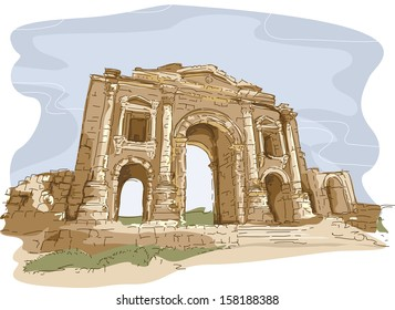 Illustration Featuring One of the Gates of the City of Jerash in Jordan