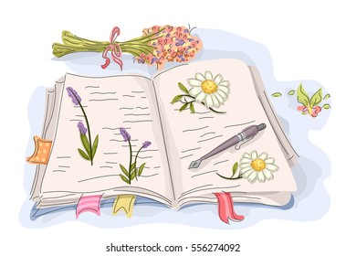 Illustration Featuring an Open Book with Dried Flowers Pressed Against its Pages
