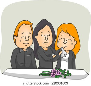 Illustration Featuring People Weeping at a Funeral Service