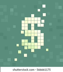 Illustration Featuring Pixelated Blocks Forming the Shape of a Dollar Sign
