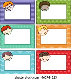 illustration featuring printable name tags for boys