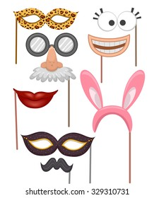 Illustration Featuring Props Commonly Used in Photobooths