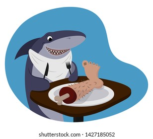 Illustration Featuring a Shark Wearing a Bib and Holding a Fork and a Knife and Eating leg - Funny Vector Poster.