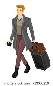 Illustration Featuring a Sharply Dressed Young Man Holding a Passport Dragging His Luggage Along
