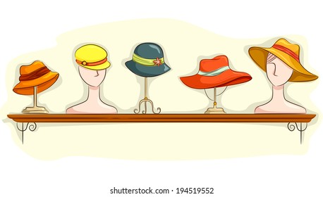 Illustration Featuring a Shelf Full of Hats on Display